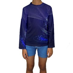 Christmas Tree Blue Stars Starry Night Lights Festive Elegant Kids  Long Sleeve Swimwear
