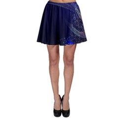 Christmas Tree Blue Stars Starry Night Lights Festive Elegant Skater Skirt
