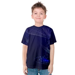 Christmas Tree Blue Stars Starry Night Lights Festive Elegant Kids  Cotton Tee