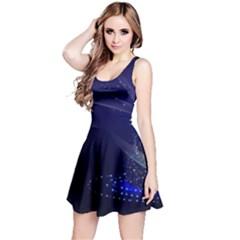 Christmas Tree Blue Stars Starry Night Lights Festive Elegant Reversible Sleeveless Dress