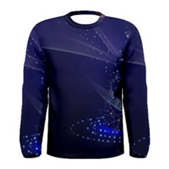 Christmas Tree Blue Stars Starry Night Lights Festive Elegant Men s Long Sleeve Tee
