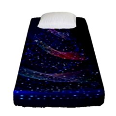 Christmas Tree Blue Stars Starry Night Lights Festive Elegant Fitted Sheet (single Size)