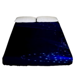 Christmas Tree Blue Stars Starry Night Lights Festive Elegant Fitted Sheet (king Size)