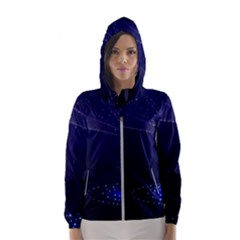 Christmas Tree Blue Stars Starry Night Lights Festive Elegant Hooded Wind Breaker (women)
