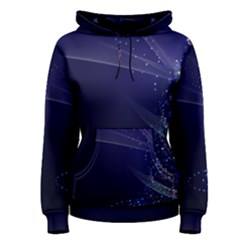 Christmas Tree Blue Stars Starry Night Lights Festive Elegant Women s Pullover Hoodie