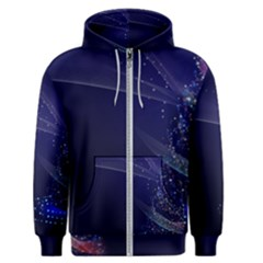 Christmas Tree Blue Stars Starry Night Lights Festive Elegant Men s Zipper Hoodie