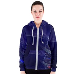 Christmas Tree Blue Stars Starry Night Lights Festive Elegant Women s Zipper Hoodie