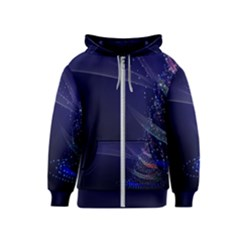 Christmas Tree Blue Stars Starry Night Lights Festive Elegant Kids  Zipper Hoodie
