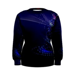 Christmas Tree Blue Stars Starry Night Lights Festive Elegant Women s Sweatshirt