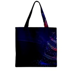 Christmas Tree Blue Stars Starry Night Lights Festive Elegant Zipper Grocery Tote Bag