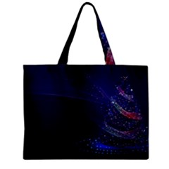 Christmas Tree Blue Stars Starry Night Lights Festive Elegant Zipper Mini Tote Bag