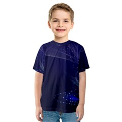 Christmas Tree Blue Stars Starry Night Lights Festive Elegant Kids  Sport Mesh Tee