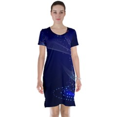 Christmas Tree Blue Stars Starry Night Lights Festive Elegant Short Sleeve Nightdress