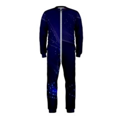 Christmas Tree Blue Stars Starry Night Lights Festive Elegant Onepiece Jumpsuit (kids)
