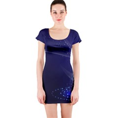 Christmas Tree Blue Stars Starry Night Lights Festive Elegant Short Sleeve Bodycon Dress