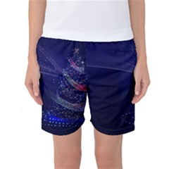 Christmas Tree Blue Stars Starry Night Lights Festive Elegant Women s Basketball Shorts