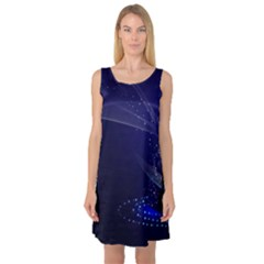 Christmas Tree Blue Stars Starry Night Lights Festive Elegant Sleeveless Satin Nightdress