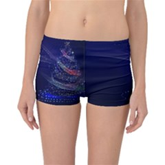 Christmas Tree Blue Stars Starry Night Lights Festive Elegant Boyleg Bikini Bottoms
