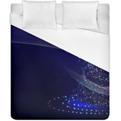 Christmas Tree Blue Stars Starry Night Lights Festive Elegant Duvet Cover (california King Size)