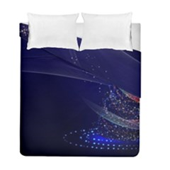 Christmas Tree Blue Stars Starry Night Lights Festive Elegant Duvet Cover Double Side (full/ Double Size)