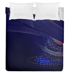 Christmas Tree Blue Stars Starry Night Lights Festive Elegant Duvet Cover Double Side (queen Size)