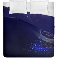 Christmas Tree Blue Stars Starry Night Lights Festive Elegant Duvet Cover Double Side (king Size)