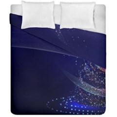 Christmas Tree Blue Stars Starry Night Lights Festive Elegant Duvet Cover Double Side (california King Size)