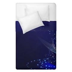 Christmas Tree Blue Stars Starry Night Lights Festive Elegant Duvet Cover Double Side (single Size)