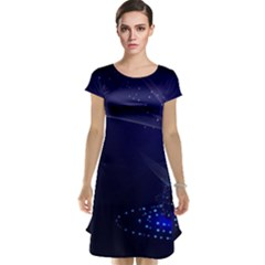 Christmas Tree Blue Stars Starry Night Lights Festive Elegant Cap Sleeve Nightdress