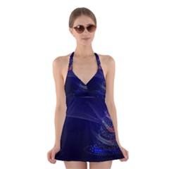 Christmas Tree Blue Stars Starry Night Lights Festive Elegant Halter Dress Swimsuit