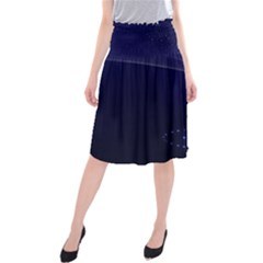 Christmas Tree Blue Stars Starry Night Lights Festive Elegant Midi Beach Skirt