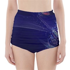 Christmas Tree Blue Stars Starry Night Lights Festive Elegant High Waisted Bikini Bottoms