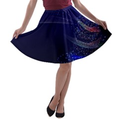 Christmas Tree Blue Stars Starry Night Lights Festive Elegant A Line Skater Skirt
