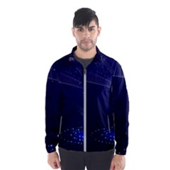 Christmas Tree Blue Stars Starry Night Lights Festive Elegant Wind Breaker (men)