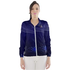 Christmas Tree Blue Stars Starry Night Lights Festive Elegant Wind Breaker (women)