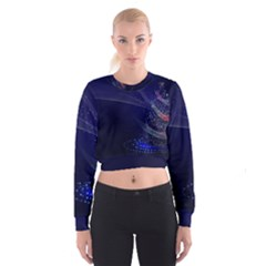 Christmas Tree Blue Stars Starry Night Lights Festive Elegant Cropped Sweatshirt
