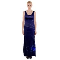 Christmas Tree Blue Stars Starry Night Lights Festive Elegant Maxi Thigh Split Dress
