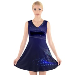 Christmas Tree Blue Stars Starry Night Lights Festive Elegant V Neck Sleeveless Skater Dress