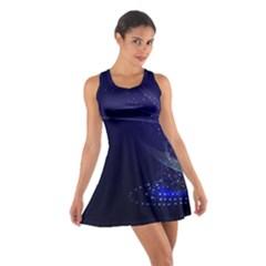 Christmas Tree Blue Stars Starry Night Lights Festive Elegant Cotton Racerback Dress