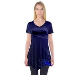 Christmas Tree Blue Stars Starry Night Lights Festive Elegant Short Sleeve Tunic
