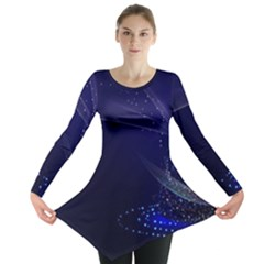 Christmas Tree Blue Stars Starry Night Lights Festive Elegant Long Sleeve Tunic