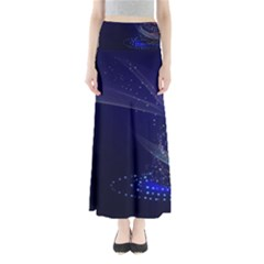Christmas Tree Blue Stars Starry Night Lights Festive Elegant Full Length Maxi Skirt