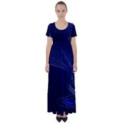Christmas Tree Blue Stars Starry Night Lights Festive Elegant High Waist Short Sleeve Maxi Dress