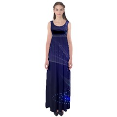 Christmas Tree Blue Stars Starry Night Lights Festive Elegant Empire Waist Maxi Dress