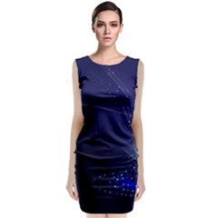 Christmas Tree Blue Stars Starry Night Lights Festive Elegant Classic Sleeveless Midi Dress