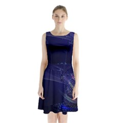 Christmas Tree Blue Stars Starry Night Lights Festive Elegant Sleeveless Waist Tie Chiffon Dress