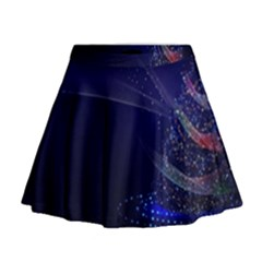 Christmas Tree Blue Stars Starry Night Lights Festive Elegant Mini Flare Skirt