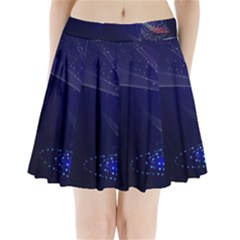 Christmas Tree Blue Stars Starry Night Lights Festive Elegant Pleated Mini Skirt