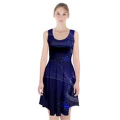 Christmas Tree Blue Stars Starry Night Lights Festive Elegant Racerback Midi Dress