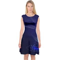 Christmas Tree Blue Stars Starry Night Lights Festive Elegant Capsleeve Midi Dress